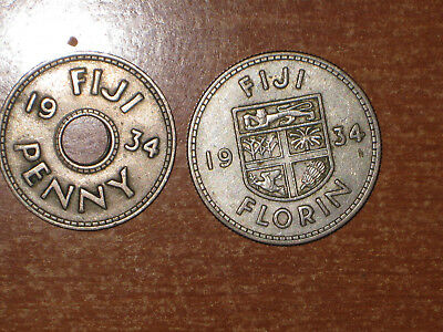 Fiji 1934 Penny and silver Florin coin lot Very Fine nice
