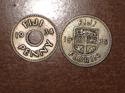 Fiji 1934 Penny and 1935 silver Florin coin lot Very Fine nice
