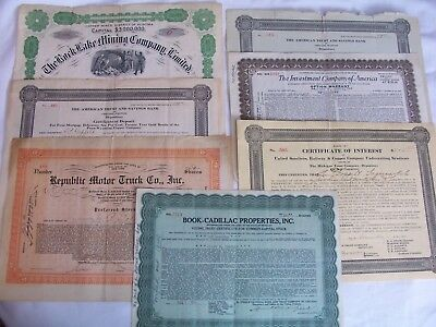 VINTAGE Misc STOCK CERTIFICATES Lot Of 7 1900-1940