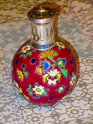 Lampe BERGER LONGWY EMAUX signe L Y grenat / rouge French lamp ceramic enamels