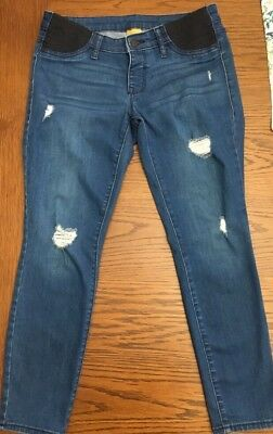 EUC Old Navy Distressed Maternity Skinny Jeans Side Panel Size 6