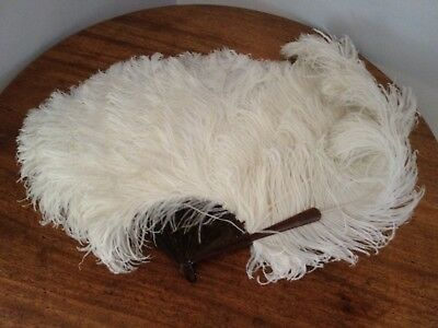 Antique Ostrich Feather Fan With Faux Tortoishell