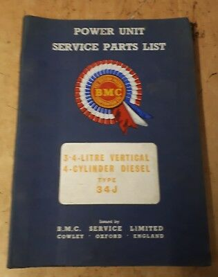 Nuffield Tractor / Bmc 3.4 Litre 4 Cylinder Engine Service Parts List  Manual.