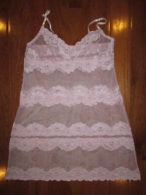 Fredericks Of Hollywood Pink Lace Sheer Short Nightgown Nightie Size L (Fits M)