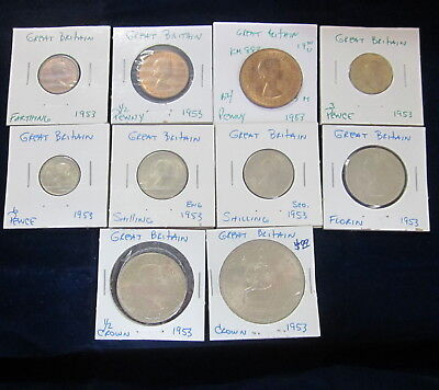 Great Britain Group of 10 coins 1953, KM 881-894 , Uncirculated, Uncertified
