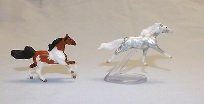 Breyer Mini Whinnies horse lot of 2 silver dapple + bay pinto blind bag surprise