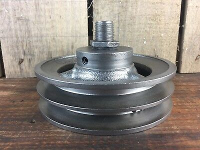 "Vintage Cast iron 6"" Double Pulley Wheel, Industrial, Threaded Steampunk Parts"
