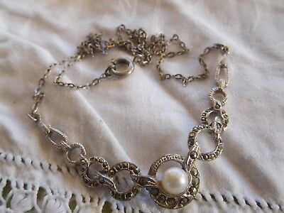 Dainty Vinage 1950s Marcasite Pearl Necklace