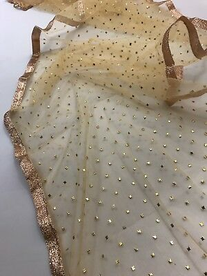 $7.99 Partywear  Gold Dupatta Indian  Wedding Fancy  Scarf  Match any Dress Suit