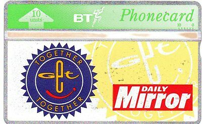 """Bt Phonecard – """"Together Together"""" Daily Mirror (Thresher)"""