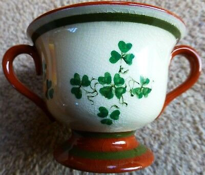 Vintage Irish motto Carrig Ware 'Come Back to Erin' double handled cup Shamrocks