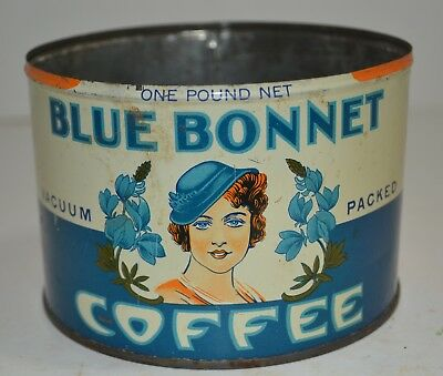 VINTAGE RARE BLUE BONNET COFFEE TIN CAN 1lb  NO LID