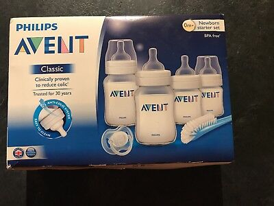 Philips Avent Classic Newborn Starter Set BPA Free 4 BOTTLES, DUMMY & BRUSH BNIB