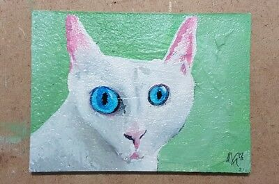 ACEO QUIRKY CAT Painting No.5 (2018) Miniature Oil Painting MGart Animal Art