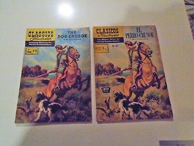 "CLASSICS ILLUSTRATED JES Editions(2) ""THE DOG CRUSOE"" BRITISH & MEXICAN RARE !!!"