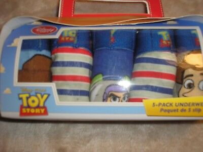 Size 2/3 Toy Story Buzz Woody 5 Pack Disney Underpants NIP