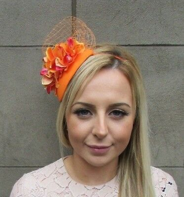 Orange Orchid Flower Net Fascinator Hair Headband Races Teardrop Wedding 5295