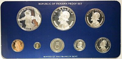1985 COINAGE OF PANAMA REPUBLIC SILVER BALBOAS 8 COIN PROOF SET Franklin Mint