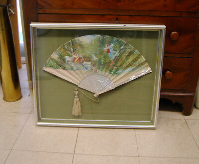 Rare Antique  French Hand Painted Silk Mother Of Pearl Fan Framed