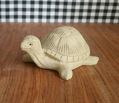 Hibiscus Wood Cute Small Sea Turtle Tortoise Carving, Beach Marine Decor Reptile