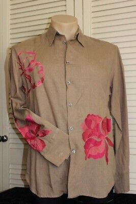 PAUL SMITH.  MENS VINTAGE EMBROIDERED  SHIRT. ITALIAN CUFF    Sz: X LARGE