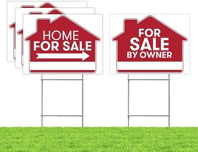"""For Sale By Owner Sign - 4 Premium Yard Signs Bulk Pack - 18"""" x 24"""" Inches"""