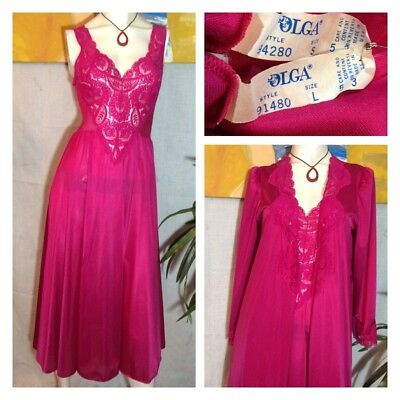 "Vintage Olga Long Full Sweep Nylon & Lace Nightgown & Robe Set S/m Bust 30""-43"""
