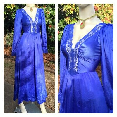 Vintage Lady Cameo Royal Blue Lace Olga Like Long Sleeve Romantic Full Nightgown