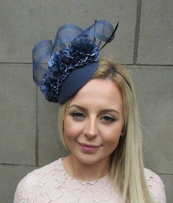 Navy Blue Flower Feather Pillbox Hat Hair Fascinator Races Ascot Wedding  5299 40149ac83d8