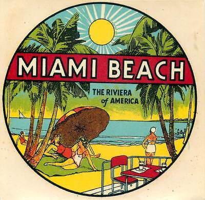 Miami Beach Florida Riviera Of America Vintage Art Deco Decal Label
