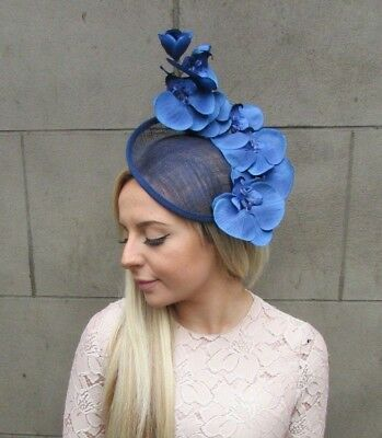 Royal & Navy Blue Orchid Flower Saucer Disc Hat Fascinator Races Wedding 5300
