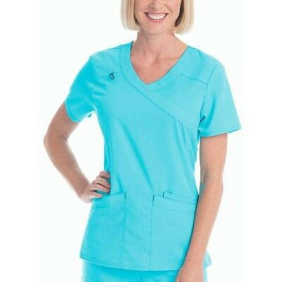 SCRUBSTAR Women's Premium Collection Rayon Mock Wrap Scrub Top Turquoise XL