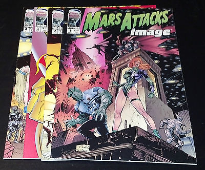 MARS ATTACKS IMAGE SET 1-4 (9.4) 4 ISSUES IMAGE KEITH GIFFEN SIENKIEWICZ (sr006)