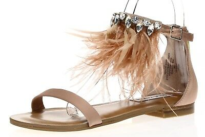 8306d30e6ce8 STEVE MADDEN WOMENS  Adore  Blush Embellished Feather Sandal Sz 6 M ...