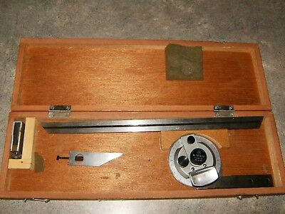 """Mitutoyo 187-906 Universal Bevel Protractor with 12"""" Blade and wood storage case"""