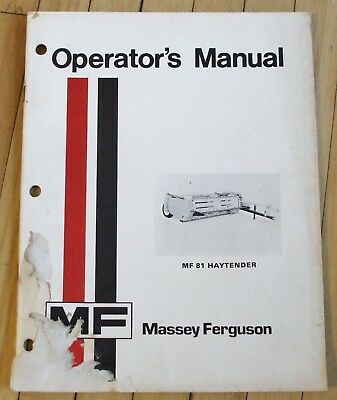 Original Massey Ferguson MF 81 Haytender Operators Manual 17 Pages