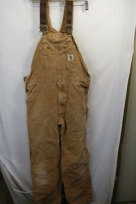 Carhartt coveralls thick duck Bibs cotton Overalls Camel Brown 36X36 tall