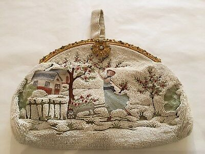 Antique / Vintage French Micro Beaded Chain Stitch Embroidered Purse Clutch Wow!