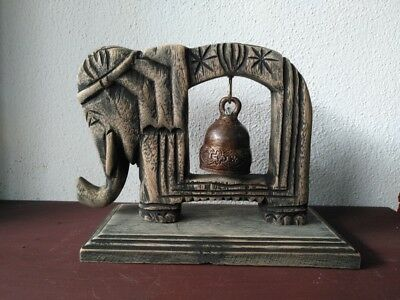 Vintage Thai Bell Buddha Temple Elephant Shaped Hanging Home Decor Collectible