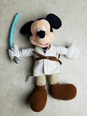 Disney World Jedi Mickey Mouse Bean Bag  Plush Star Wars beanie 10""