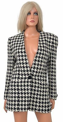 Vintage 80s Evan-Picone LARGE HOUNDSTOOTH BLAZER Suit Jacket Wool Alabama sz 6