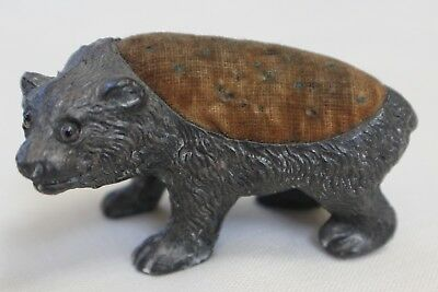 ANTIQUE VICTORIAN FIGURAL NOVELTY BEAR Glass eyes PIN CUSHION VINTAGE SEWING #2