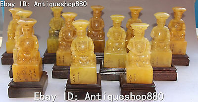 """22"""" Chinese Shoushan Stone Carving Sit 12 Emperor Monarch Seal Stamp Signet Set"""