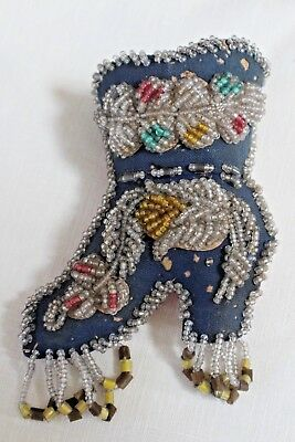 Authentic Native Beaded Boot Shoe American Pin Cushion scissor pocket Whimsy OLD