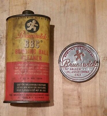 VINTAGE RARE 1940's BRUNSWICK BOWLING BALL CLEANER TIN CAN AND EMBLEM PLATE
