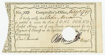 1789 1 Pound - Comptroller's Office CONNECTICUT Interest Payment Certificate