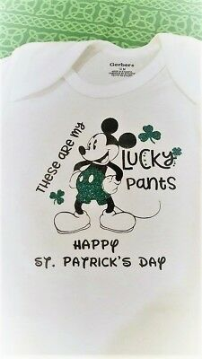 St. Patrick's Day Onsie - Mickey Mouse Sporting His Lucky Green Pants