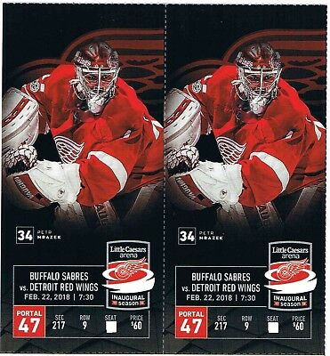 2 TICKETS RED WINGS vs BUFFALO  THURSDAY FEBRUARY 22ND