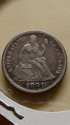 1891 seated dime shattered reverse