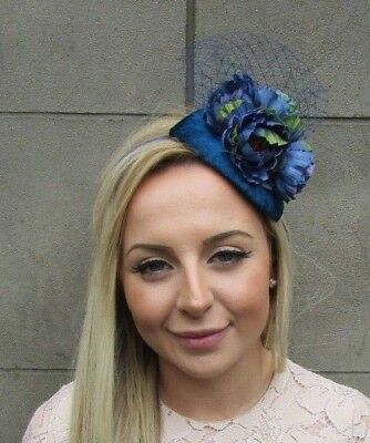 Teal Navy Blue Peony Flower Net Fascinator Headband Races Teardrop Wedding 5307